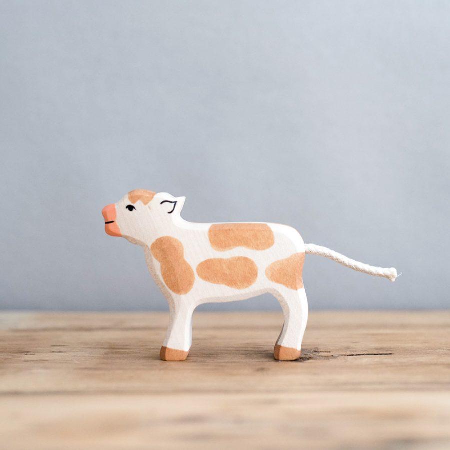 HOLZTIGER 德國木製動物積木 / 小牛 – 站立的棕色小牛