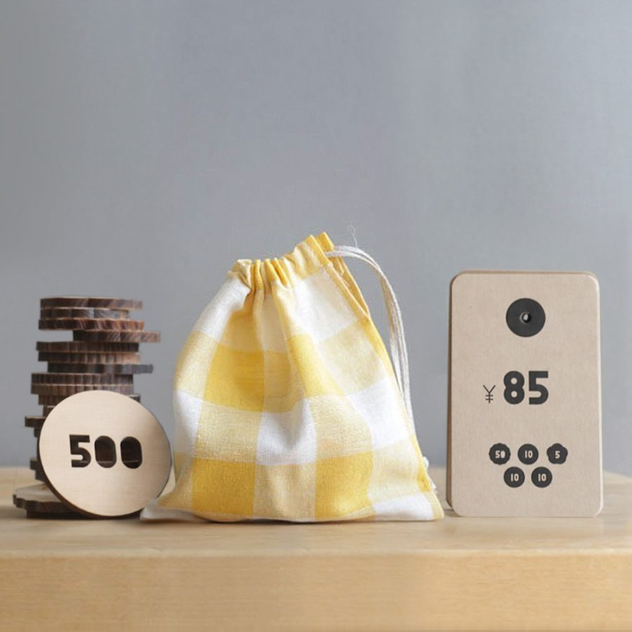 Sukima okozukai 零用錢木製玩具 / 小布袋 – 黃色格子小布袋