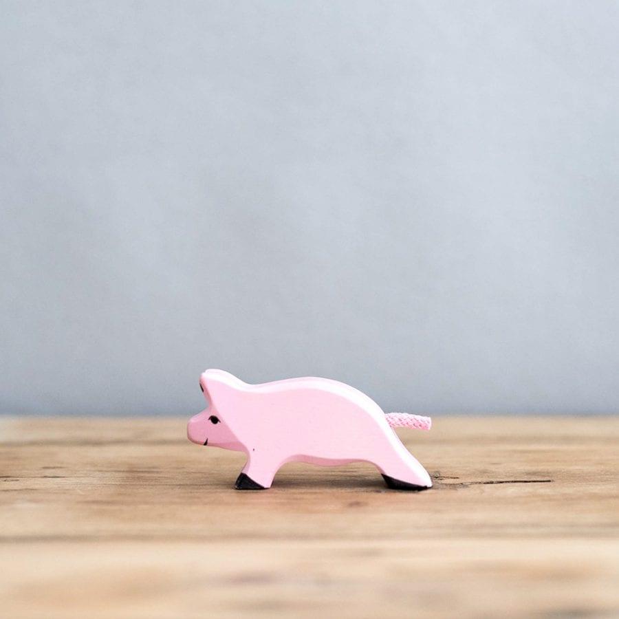 HOLZTIGER 德國木製動物積木 / 奔跑小豬