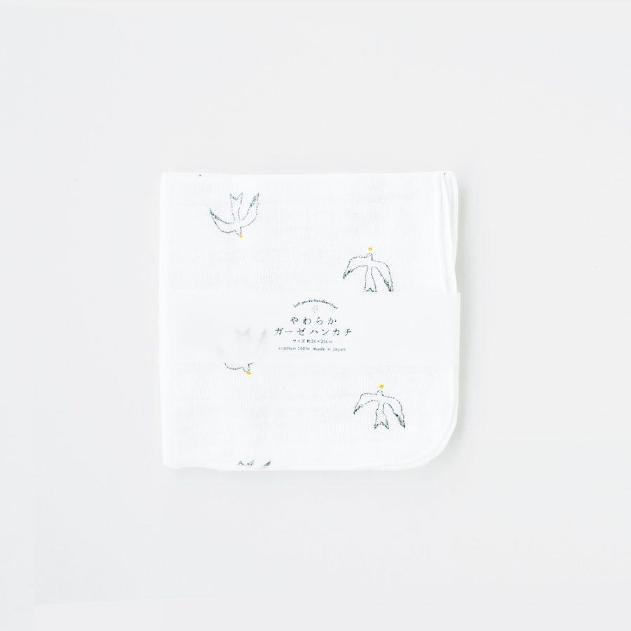 日本製 AXCIS 二重軟紗布手帕 鳥 / 天鵝