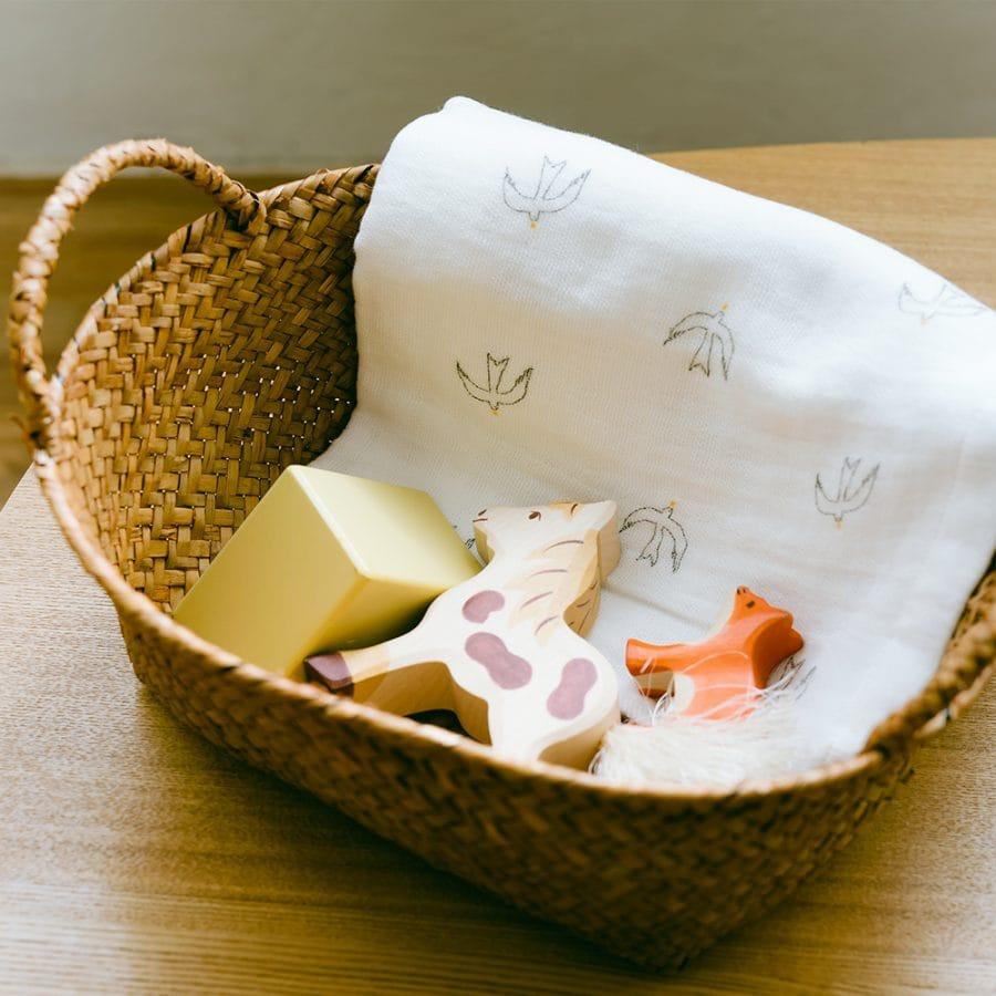 日本製 AXCIS 柔軟的紗布毛巾 鳥 / 天鵝