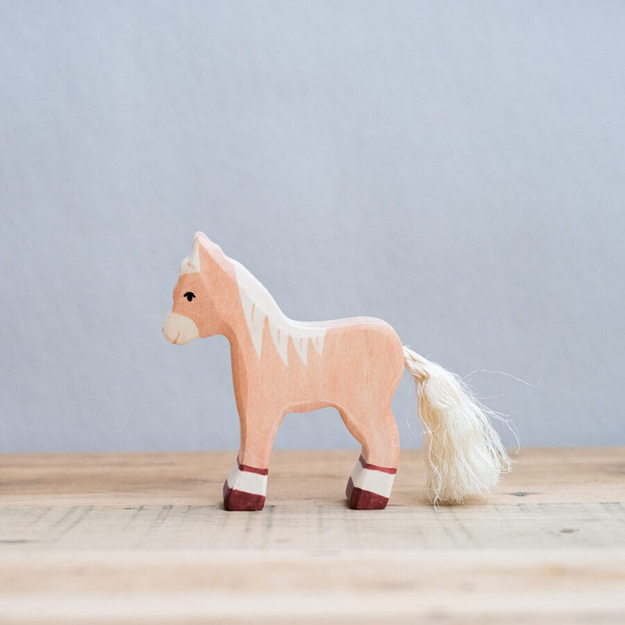 HOLZTIGER 德國木製動物積木 / 淺棕小馬